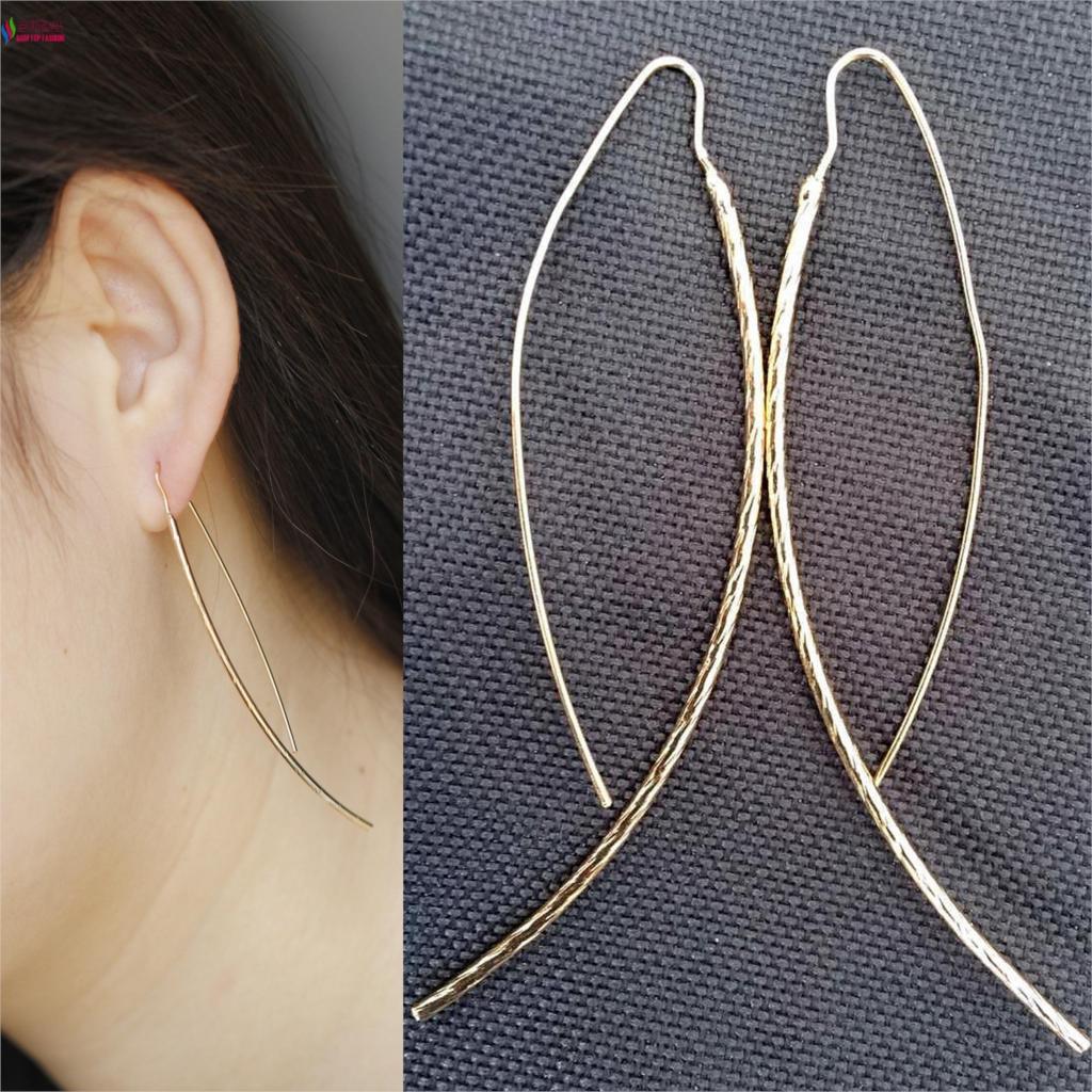 fashion rock & roll gold/silver/ black simplicity copper stick pierced drop earrings for women brincos de gota feminino(China (Mainland))
