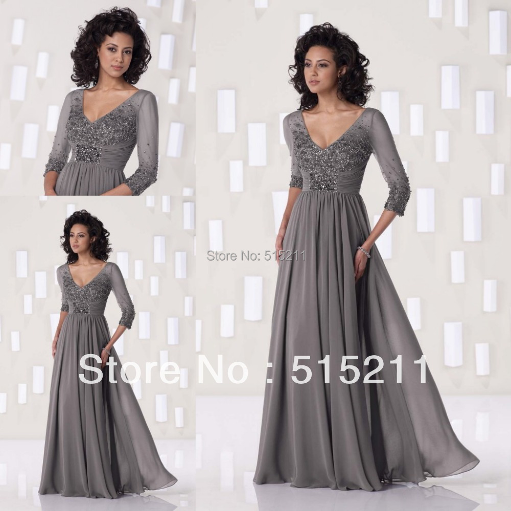 silver gray mother bride dresses