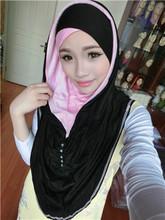 TJ2 Modal cottom  fashion beautiful   Rhinestone  muslim patchwork  hijab pashmina(China (Mainland))