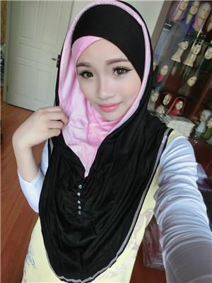 Tj2 modale cottom mode belle strass musulmans patchwork hijab pashmina(China (Mainland))