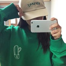 2015 fall new fashion green Cactus digital embroidery hedging cotton female sweatshirt(China (Mainland))