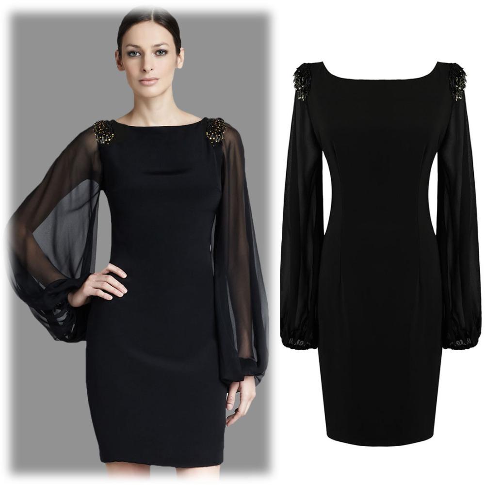 2015 New Fashion Summer Mesh Black Chiffon Long Lantern Sleeves Vintage Bohemian Plus Size Slim Dance Dresses Size SM-XXL  1430(China (Mainland))