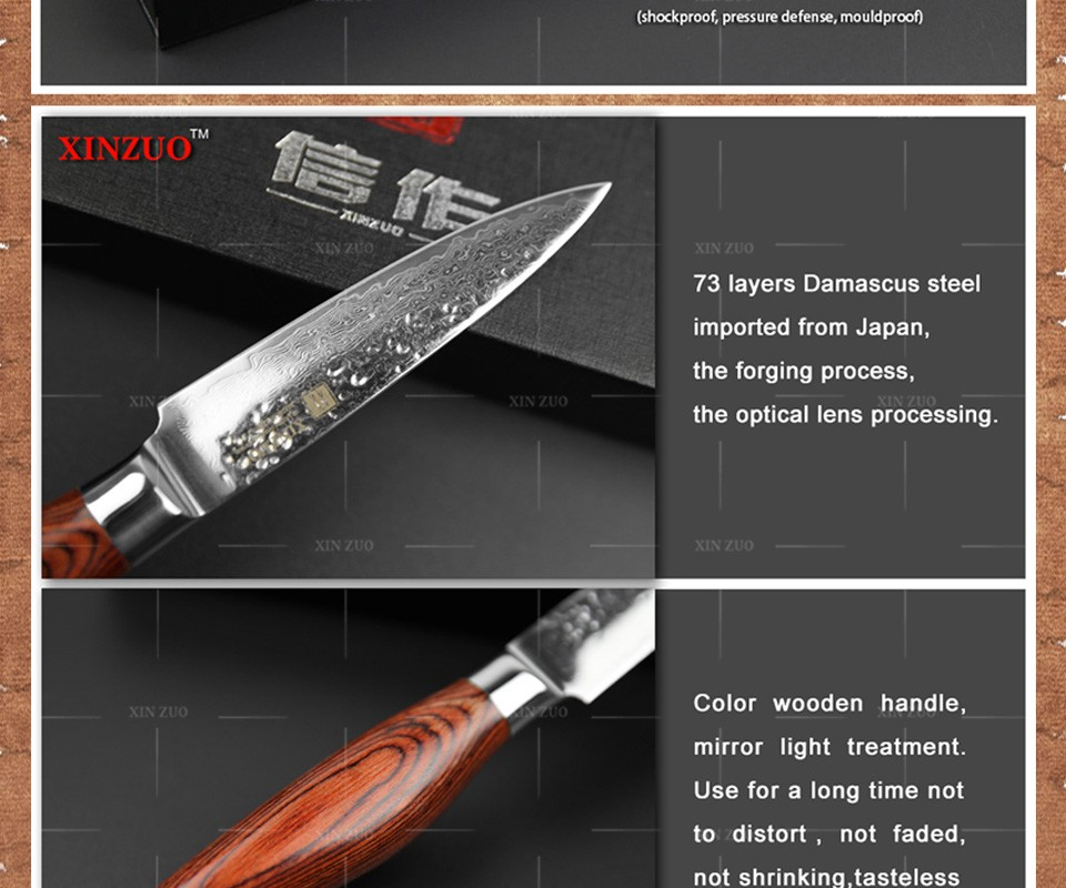 Buy XINZUO 5 pcs kitchen knife set Japanese VG10 Damascus kitchen knife set cleaver chef utility hammer striae forging free shipping cheap