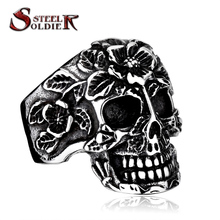 steel soldier Mens flower skull Exaggerated Punk cool vintage ring for man jewelry us size 7 8 9 10 11 12 13 BR8-210(China (Mainland))