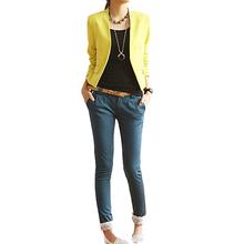 Women's Korea Style Candy Color Solid Slim Suit Blazer Jacket