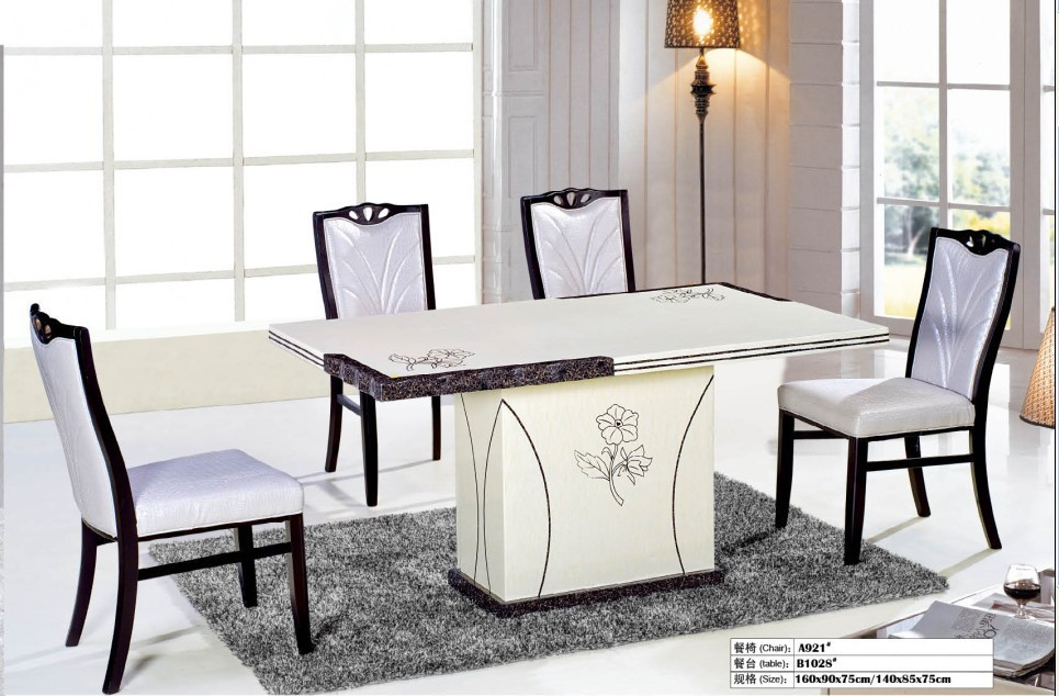 white marble dinning table/restaurant furniture dinning table(China (Mainland))