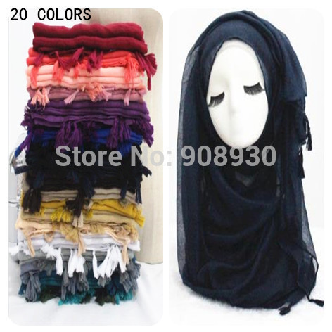 2015 Fringes Plain Hijabs Women Solid Shawl Wrap Large Head Scarf Islamic Ladies Nice Tassels Design(China (Mainland))