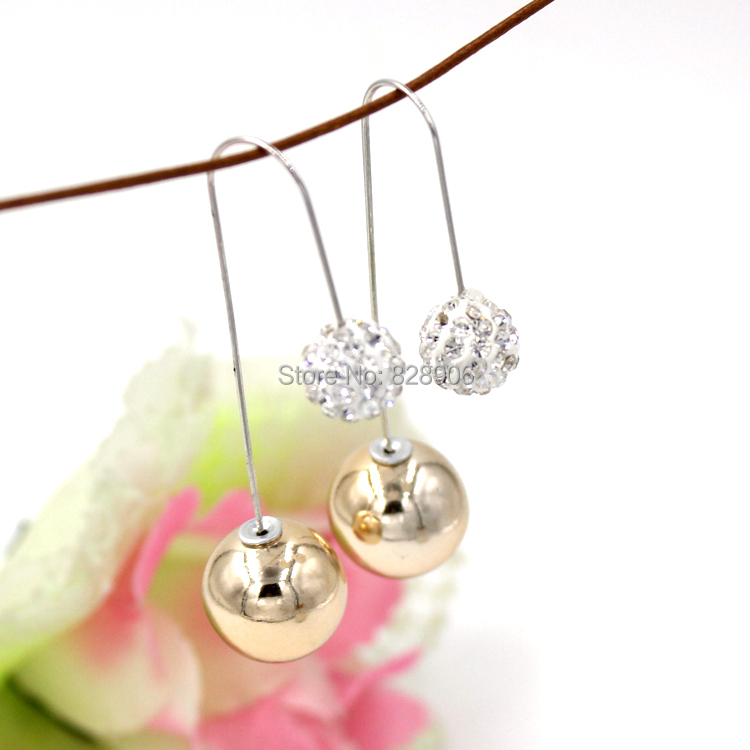 Newest Free Shipping Crystal Ball Gold Ball Earrings Double Sided Bead Earrings Front Back Double Side Long Earrings for Women(China (Mainland))