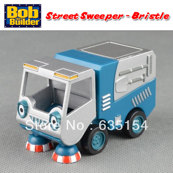 Free Shipping Brand New Bob The Builder Grey and Blue Street Sweeper Bristle Diecast Metal Vehicle Toy Loose In Stock(China (Mainland))