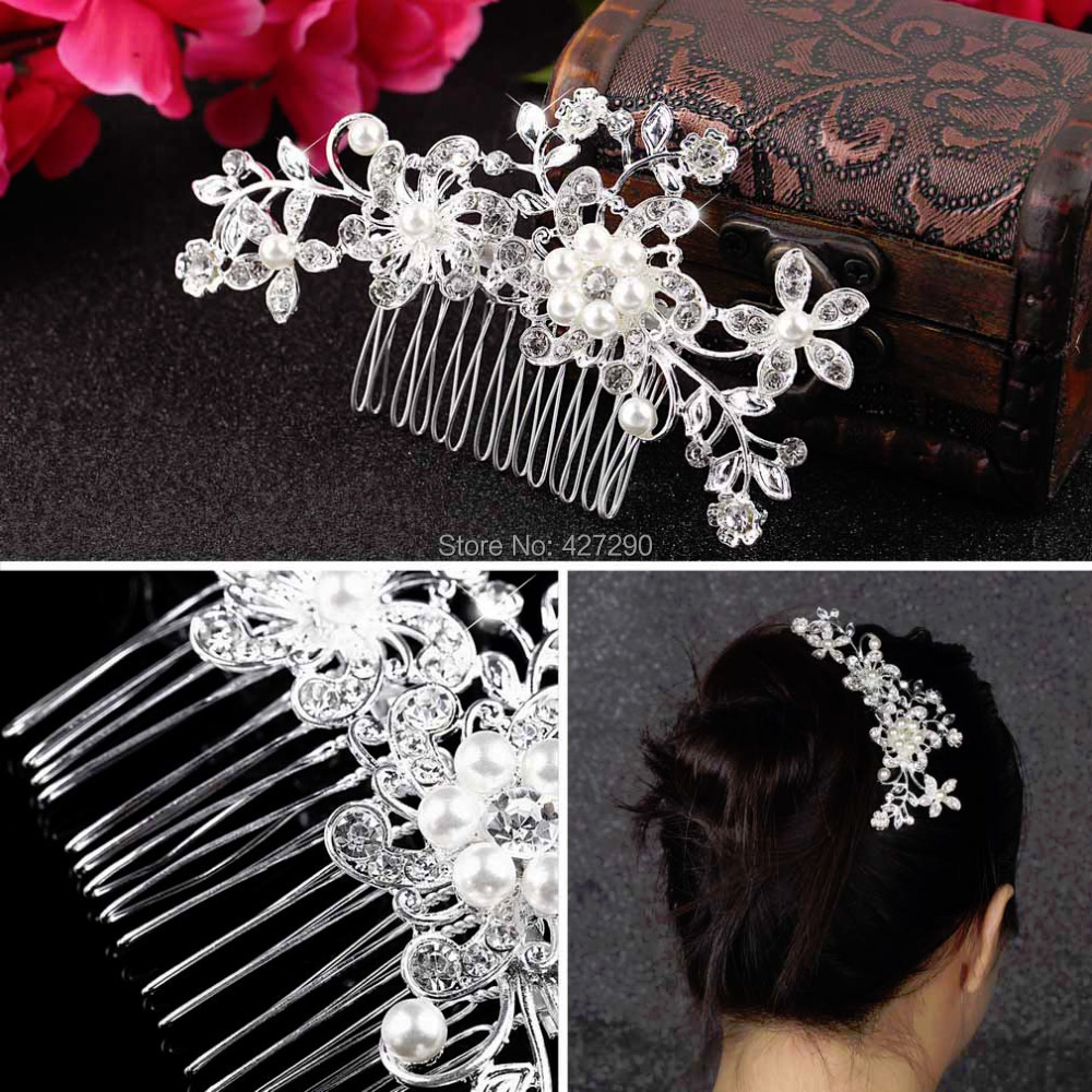 1pcs Bridal Wedding Rhinestone Flower Silver Plated Stunning Sparkling Hair Pin Clip Comb Free Shipping