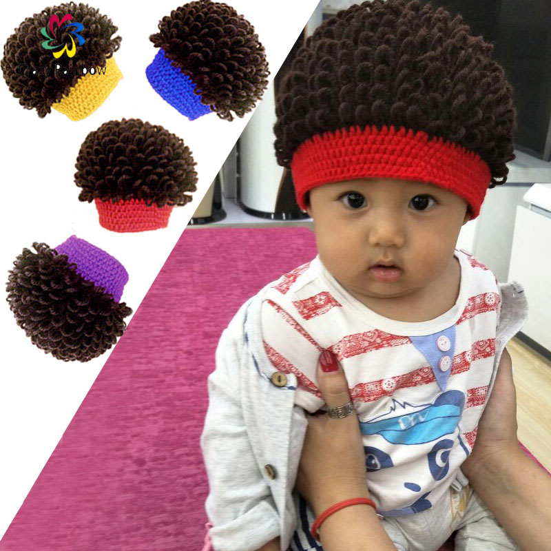 Newborn 2016 New Unisex Baby Boy Girl Kids Toddler Infant Cool Wig Hats Soft Cap Beanie(China (Mainland))
