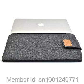 """Dark Gray Color New Woolen Felt Laptop Sleeve Bag Cover Case For Laptop/Samsung/Sony/HP/ Macbook Air Pro/Dell 11""""13"""" 15 """"(China (Mainland))"""