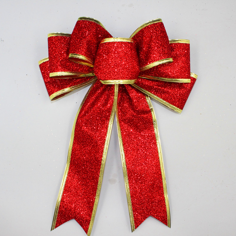 3 color large red silver gold sparkling glitter christmas for Red ribbon around tree