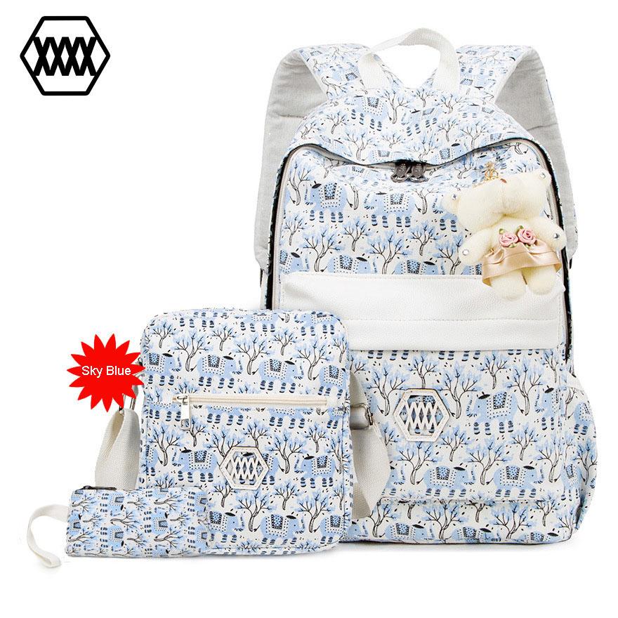 Beautiful Women Backpack Crossbody Bag Set 2016 Fashion Flower Printing Female Bagpack For Teen Girls Laptop Backpacks Schoolbag(China (Mainland))