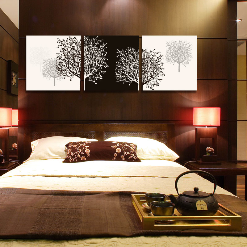 Wall Art Bedroom Modern : Panel black and white cuadros tree of life prints