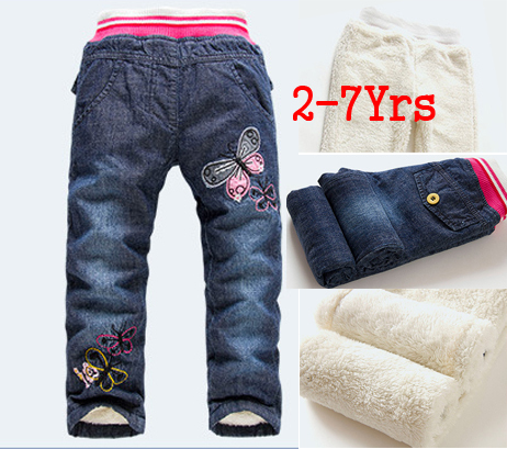 2-7Yrs KK-Rabbit brand Children Pants Thick Winter Warm Cashmere Kids Pants Girls winter jeans Legging warm pants for girls 1478(China (Mainland))