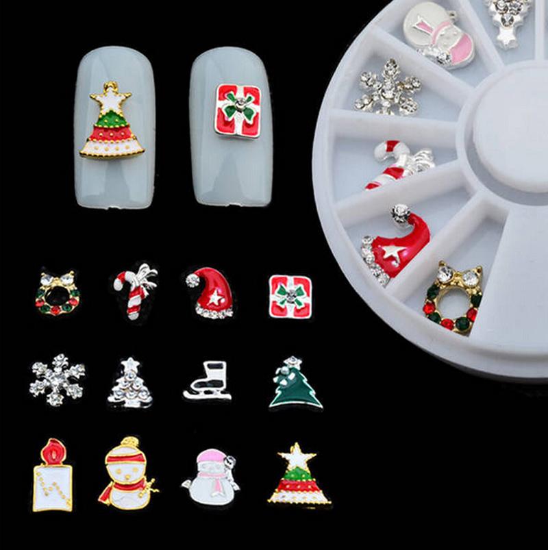 12 pcs 3D Rhinestones Christmas Nail Art Decoration Alloy Jewelry Glitter Nail Art Wheel Tool NA877(China (Mainland))