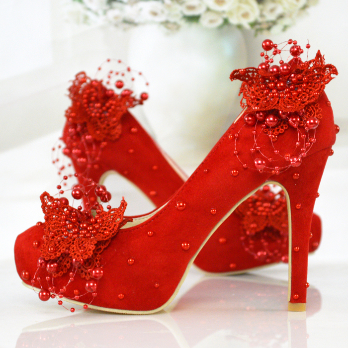 wedding shoes red high heels pearl lace bridal shoes 11cm