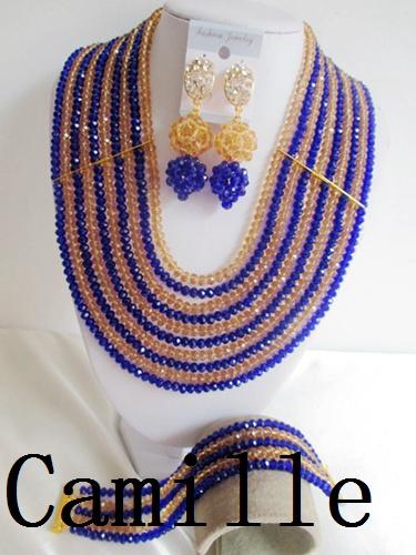 NEW Nigerian African Wedding Beads Jewelry Set Crystal Necklace Bracelet Earring Women Fashion Jewelry Free Shipping C-2855<br><br>Aliexpress