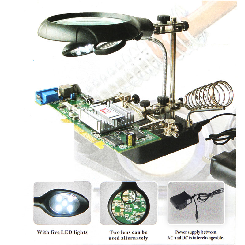 16129 Welding magnifying glass 5LED Auxiliary Clip Magnifier 3 In1 Hand Soldering Solder Iron Stand Holder Station - ShenZhen FIST Trade Technology Co., Ltd store