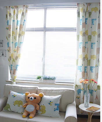 Free shipping cartoon graphic curtain animal patterns decoration and 60% blackout finished product curtains for children'room(China (Mainland))