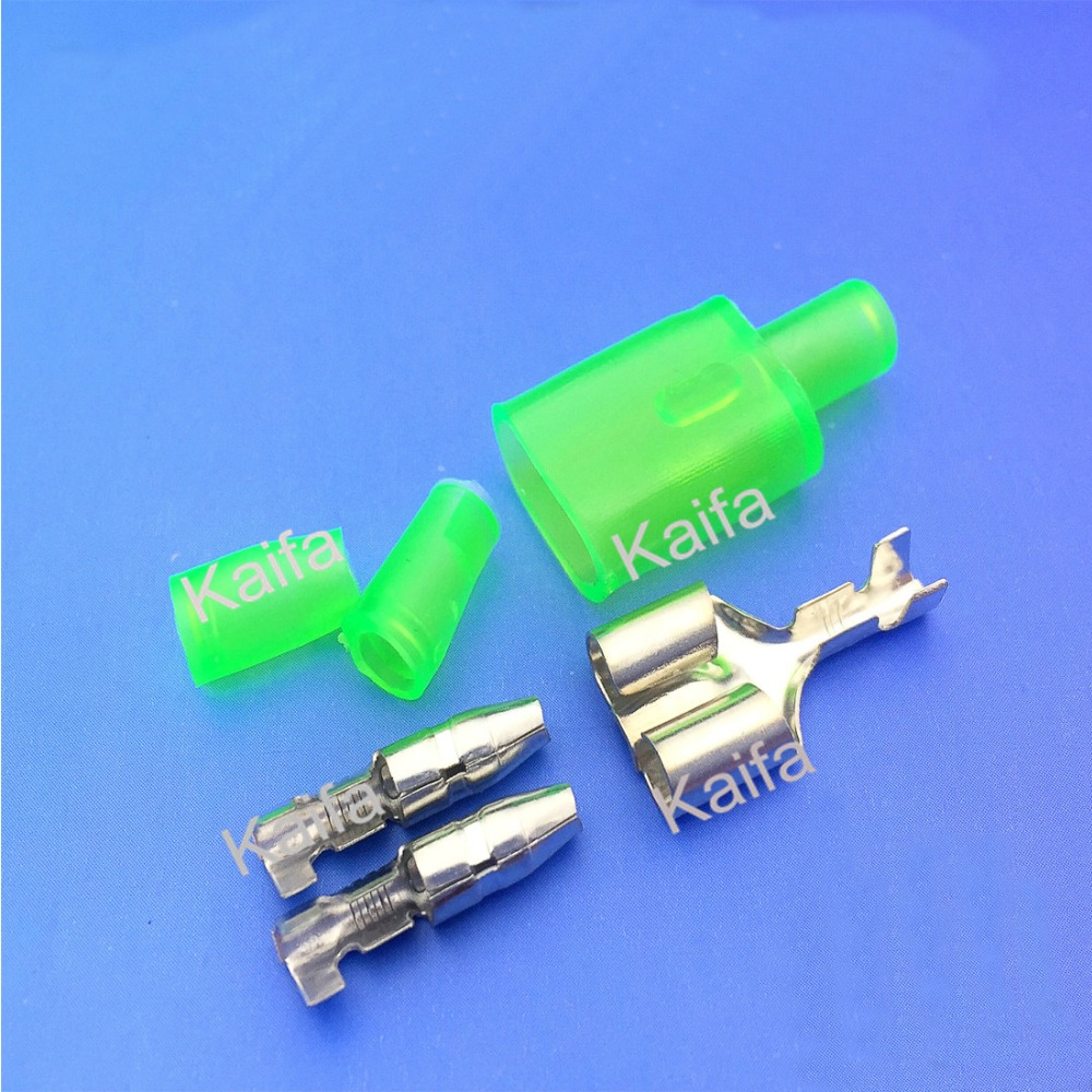 Free shipping 100pcs/lot automotive motorcycle cable wire connector male + female connectors green sheath  <br><br>Aliexpress