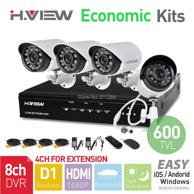H.View 8CH CCTV System HDMI DVR 4PCS 600TVL IR Outdoor Weatherproof CCTV Camera 24 LEDs Home Security System Surveillance Kits