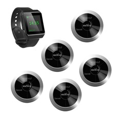 SINGCALL Serving System 5 multi-buttons pagers plus 1 watch receiver for waiters call, calling systems technology(China (Mainland))