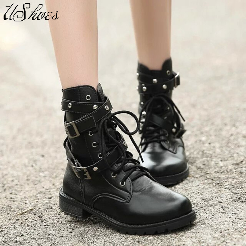 Plus Size 35-42 Lady's Dress Ankle Boots For Women Sexy Buckle European Style Thick High Heels Motorcycle PU Boot Hot Sale(China (Mainland))