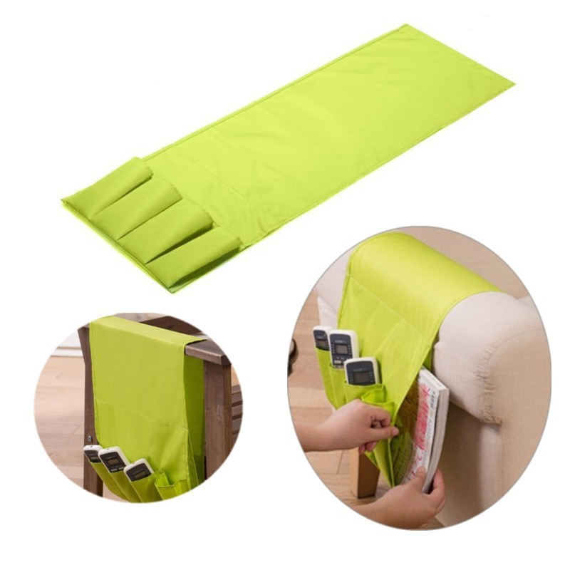 Sofa Arm Rest Remote Control Holder Table Bag TV Remote Control Organizer 4 Pockets for Remotes Cell Phones Storage Pouch(China (Mainland))