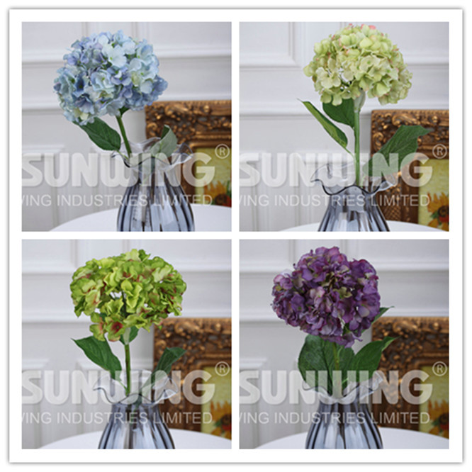 3 pcs hydrangea silk flowers Short branch hydrangea artificial flowers Home decorations for wedding Free shipping W01200003(China (Mainland))