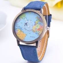 World Map Airplane Pattern Watch Women Wristwatch 2015 New Fashion Casual Quartz Watch Fabric Leather Femenino Clock Relojes