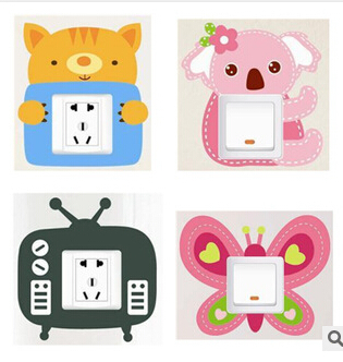 4pcs/set Free Shipping Creative embeded hollowed out removable 3dswitch sticker lovely 12 different patterns home decoration(China (Mainland))