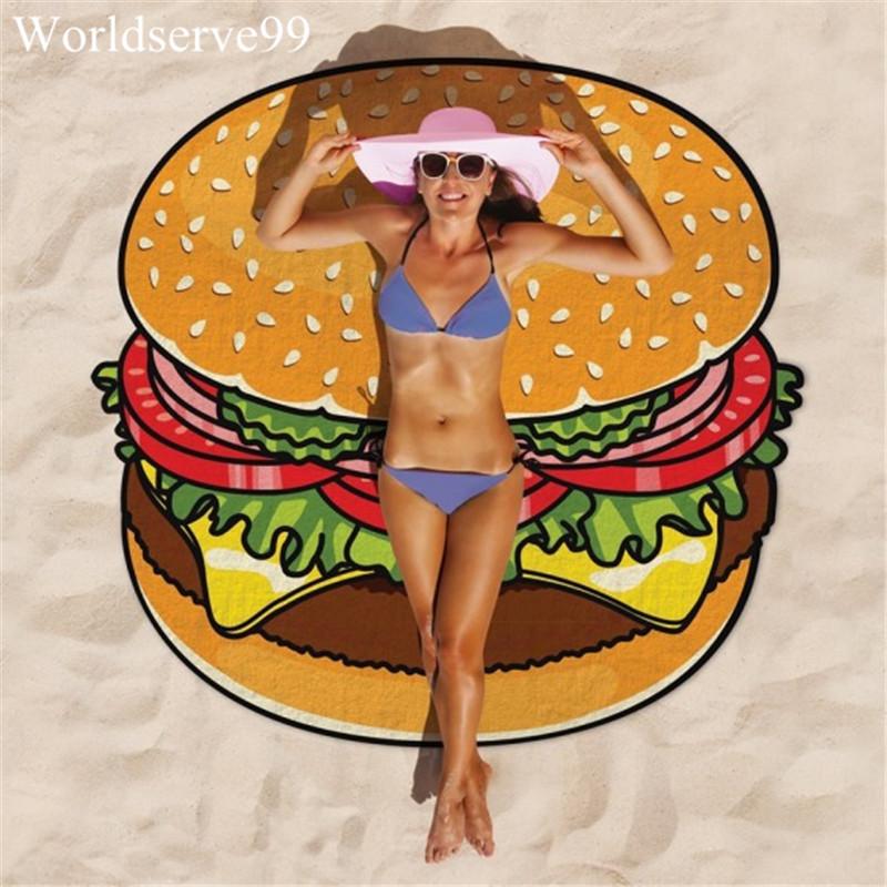 150cm Round Summer Beach Towel Doughnut Pizza Hamburger Printed Chiffon Swimming Bath Towels bikini cover-up Yoga Mat Home Decor()