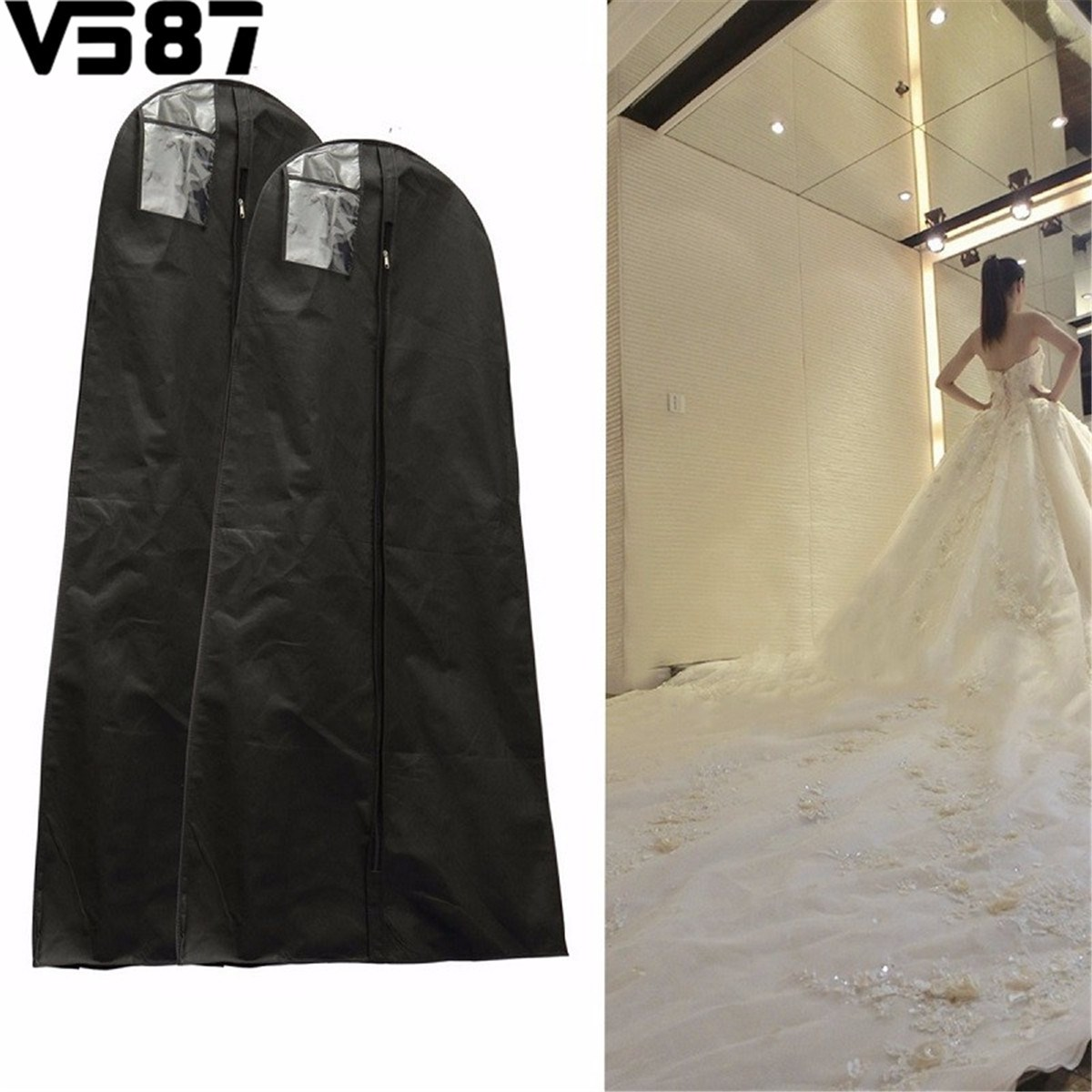 1.6/1.8M Waterproof Wedding Gown Bag Bridal Wedding Dresses Dustproof Protective Cover Home Closet Wardrobe Storage Accessories(China (Mainland))