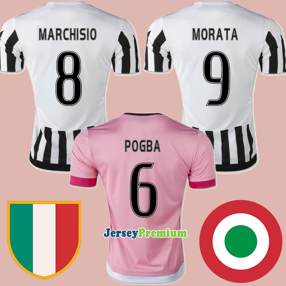 Best Thai Quality 2015 2016 Serie A Home White Away Pink Football Soccer Jersey CHIELLIN MARCHISIO MORATA PIRLO VIDAL POGBA(China (Mainland))