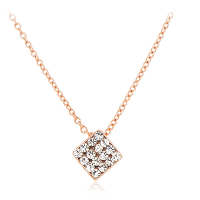 2015 Women Layer Necklace Layer Necklace Collares Jewelry New Couture Plating Square Stereo Pierced The Clavicle Are Short Chain (China (Mainland))