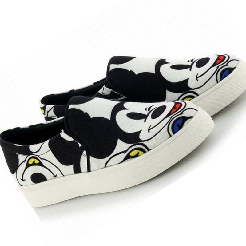 Фотография 2015 autumn new casual comfortable canvas cartoon mouse print loafers flat platform leisure shoes slip on shoes fashion fall