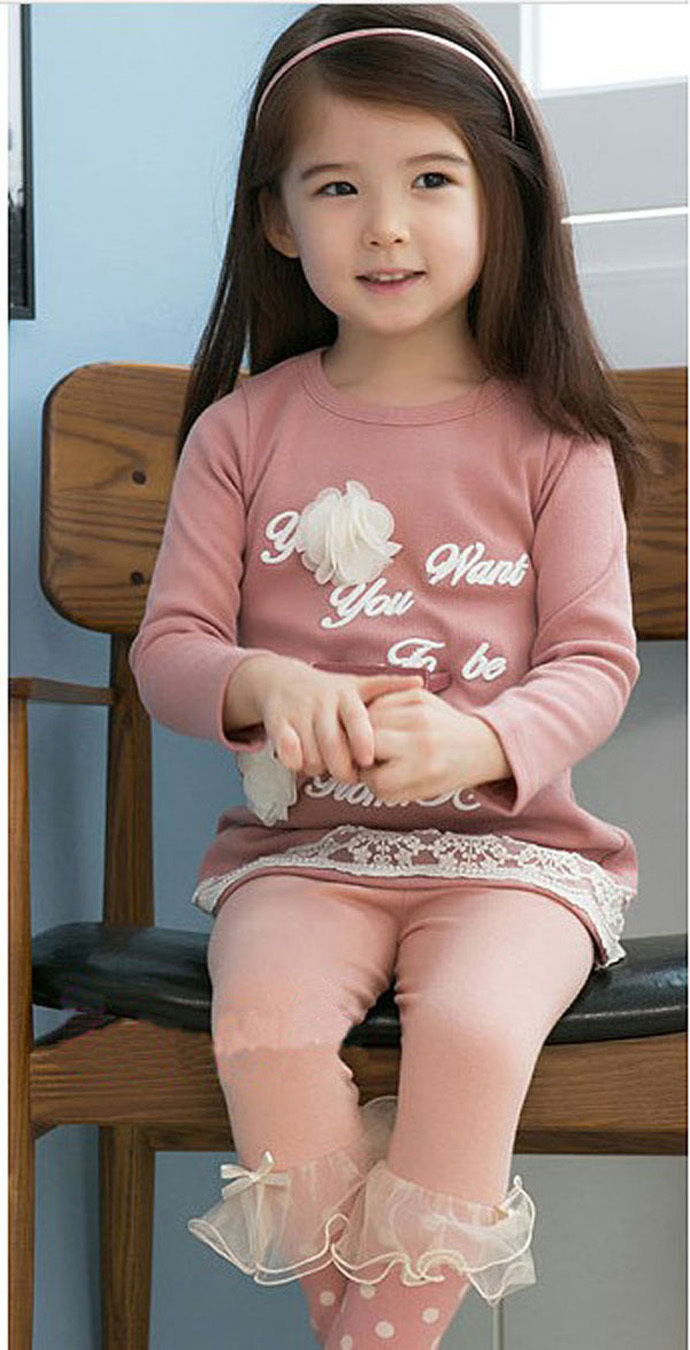 girl clothing suit 2015 pink designer children clothes Floral long sleeve T-shirt + dot printing pant vetement enfant fille bebe(China (Mainland))
