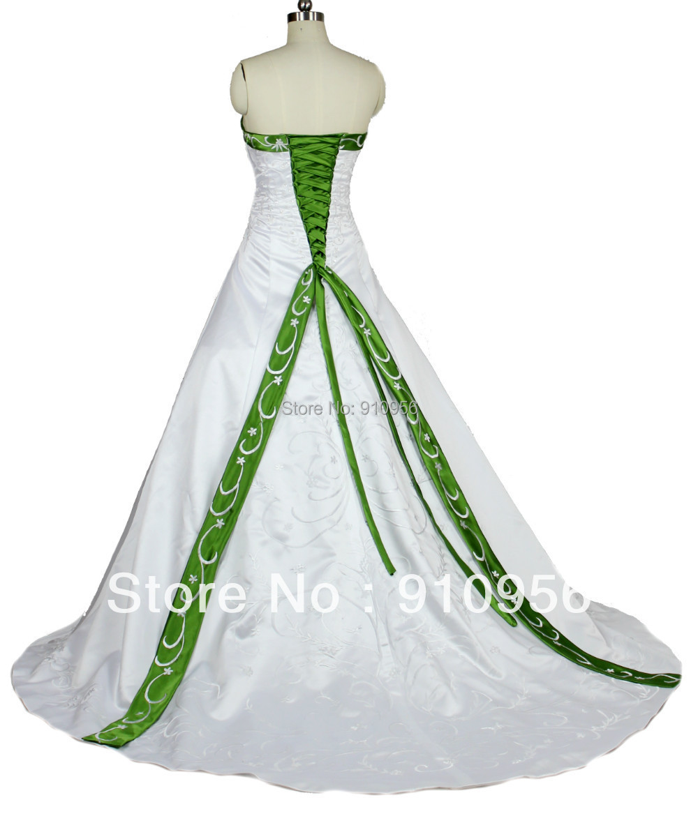 Faironly cheap elegant strapless white and green