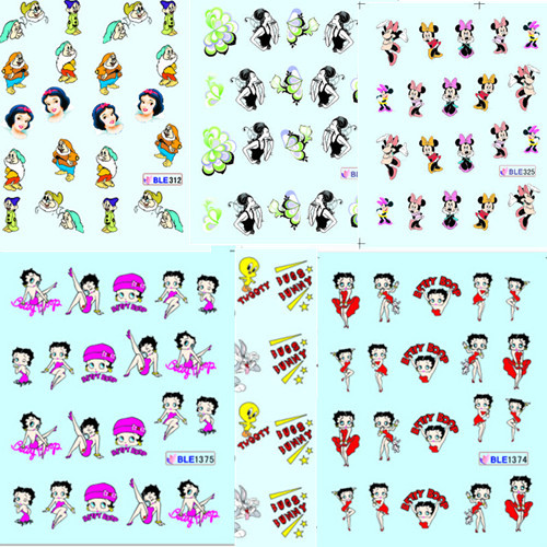 1 sheet Cartoon Fashion Style Water Transfer Nail Art Stickers Nails Decal Watermark Fingernail Decoration DIY Nail Tools #ND103(China (Mainland))