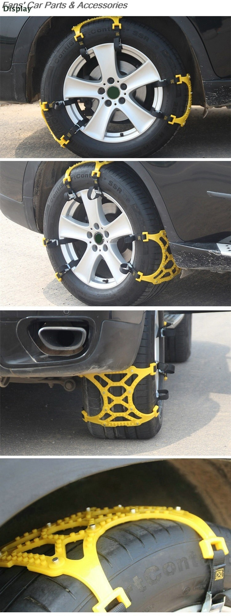 3Pcs/lot Car Winter Snow Tire Anti-skid Chains Double Card Buckle Snow Tires Beef Tendon Thickening Chain for 165-265mm Tyre