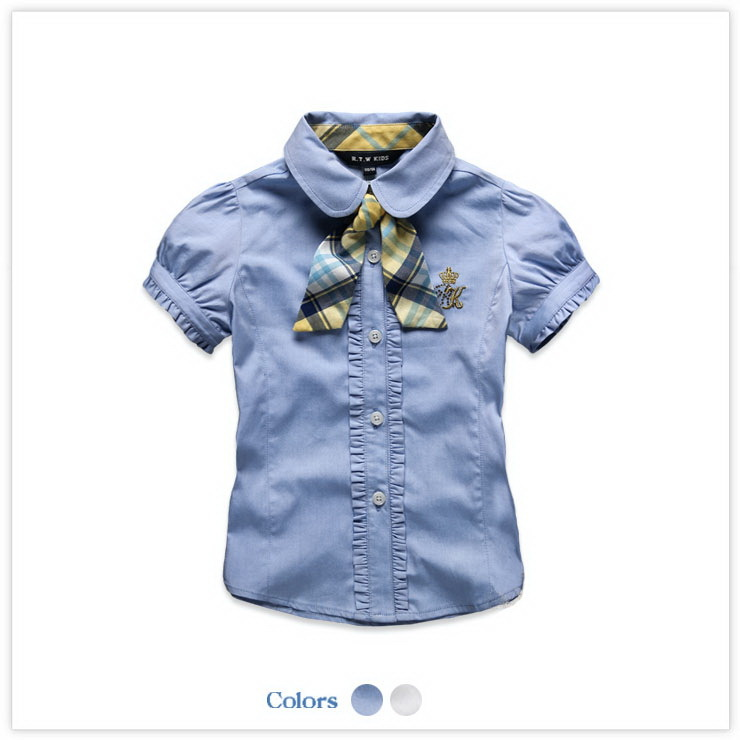 New Baby Blue And White Preppy Blouse For Girl Cotton