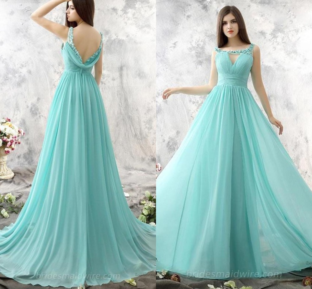 Mint green bridesmiad dresses long 2016 hand made flower for Green beach wedding dresses