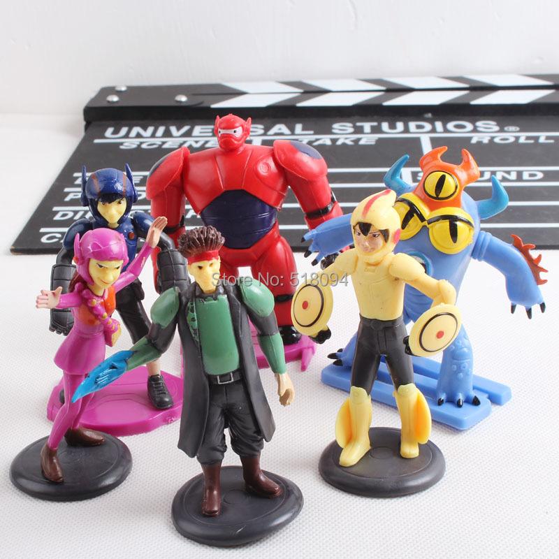 Cartoon Movie Big Hero 6 Hiro Baymax Fred Go Go Tomago Honey lemon Toys PVC Action Figures 6pcs/set DSFG186(China (Mainland))