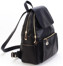 New Korea fashion genuine leather bag women backpack leather school backpack female women travel backpack for girl Free shipping(China (Mainland))