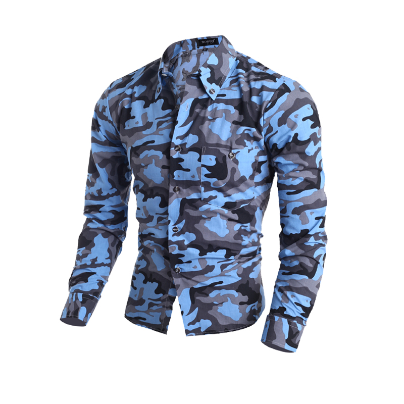 2016 Camouflage Style Men's Fashion Men Slim Fit Shirt Long Sleeve Casual Male Tops Mens Clothes(China (Mainland))