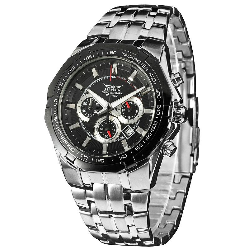 Men Sports Durable Quartz Wrist Watch Stainless-steel Band Auto Date Tachometer Multifunction + BOX<br><br>Aliexpress