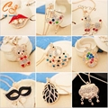 2016 Fashion Sweater Chain Luxury Rhinestone Peacock Butterfly Bear Necklace Crystal For Women Necklace