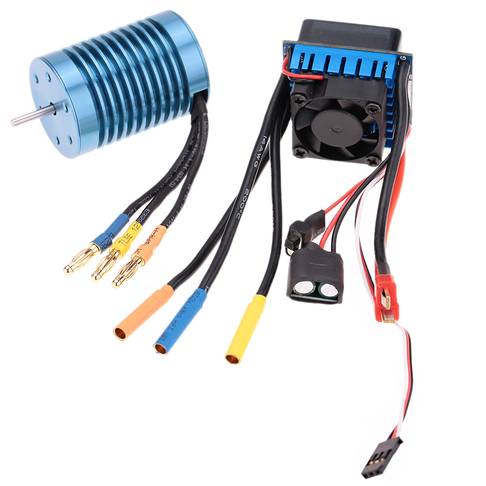 Hot Sale Aluminum 3650 4370KV 4P Brushless Motor and 45A Brushless Electric Speed Controller ESC for 1/10 RC Off-Road Car(China (Mainland))